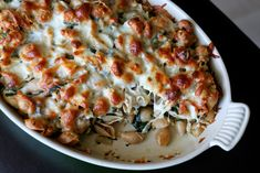 Mom's Baked Chicken and Spinach Pasta - an easy casserole recipe that will entice you with its golden brown attractiveness