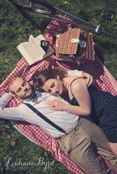 Vintage Inspired Engagement Photography by Portland / Hillsboro Oregon Photographer Leahana Byrd * unicycle * retro * 50s * suitcase * picnic * summer * couple * couples * idea * ideas * inspiration * creative * pose * poses * outfit * wardrobe * pinup * bowtie #thebyrdistheword