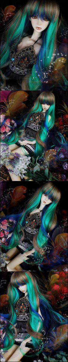 size 6//7 wig called Yuri . Dark Red Wig for Evangeline Ghastly .