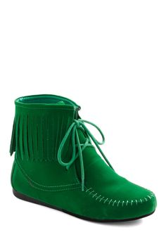 ModCloth - Upgrade Your Green Bootie - Lyst Flat Booties, Bootie Boots, Shoe Boots, Cute Shoes, Me Too Shoes, Green Boots, Vintage Boots, Vegan Shoes, Duck Boots