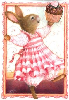 PETER COTTONTAIL~ bunny with a cupcake