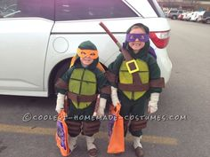 Cool Homemade Ninja Turtles Costumes for Two Children...