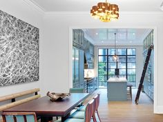 In a renovation by Markzeff, the front of the parlor floor of a West Village town house became the living and dining areas. Each is lit by a C. Brownstone Interiors, Townhouse Interior, Beautiful Interior Design, Interior Design Inspiration, Kitchen Inspiration, Kitchen Ideas, Design Ideas, New York Townhouse, Kitchen New York
