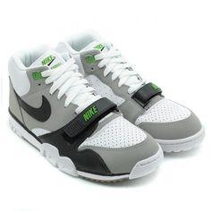 NIKE AIR TRAINER I MID PREMIUM WHITE/BLACK-NUTRAL GREY-CHLOROPHYLL #sneaker