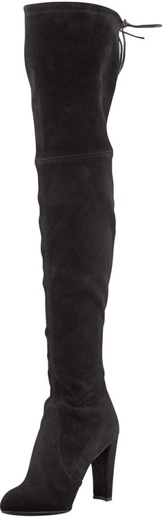 Stuart Weitzman Highland Stretchy Suede Over-the-Knee Boot, Black, Stuart Weitzman suede over-the-knee boot.