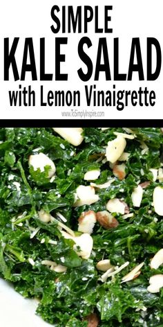 Simple Kale Salad with Lemon Vinaigrette is a healthy addition to lunch or dinner. Added sliced almonds and parmesan cheese pair perfectly with the tangy lemon dressing. Broccoli Salad With Raisins, Kale Salad Recipes, Veggie Recipes, Gourmet Recipes, Vegetarian Recipes, Cooking Recipes, Healthy Recipes, Kale Salads