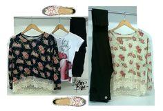 sweater en lanilla con rosas vintage + remera + leggin negro