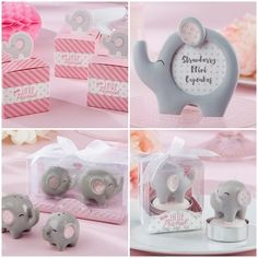 Pink and Grey Elephant Baby Shower Favors for a Girl from HotRef.com #pinkelephant #babyshower