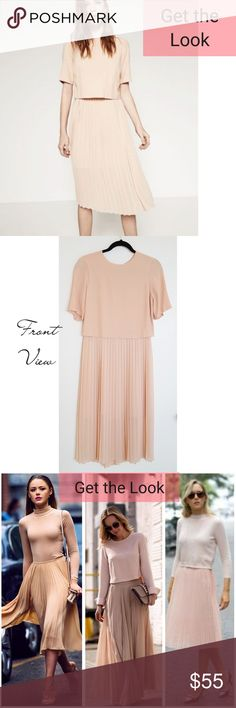 💋2x HP💋ZARA   Vintage Style Pleated Dress NWT ~ New With Tags - NWT ~ Light peach color dress ~ Illusion of separate pieces ~ Tags says Small; Recommend Size Small or Medium  ~ Skirt length: Midi - Below the knee ~ Mini pleats/Accordion style skirt ~ Love the fullness of the skirt! Vintage feel🌸  🌻 GET THE LOOK: Photos 3 & 6 are style inspo photos. Similar looks; Not exact item.  ❤ LIKE for price drop notifications 👍 Accepting Reasonable OFFERS 🌴 BUNDLE your likes & I'll send you an…