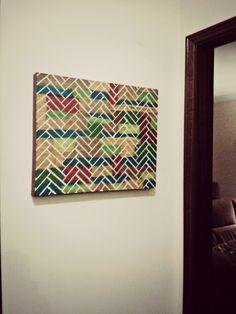 #DIY #DIYProjects #Chevron #Canvas #WallArt #ArtsAndCrafts Made by Joana Menezes (https://pt.pinterest.com/j0menezes/my-diy-works-others/)