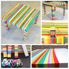 For under $30... turn an IKEA Lack sidetable into a beautiful living room unicorn: a #DIY glazed love rainbow paper tape story.