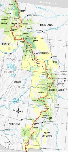 Continental Divide Trail - 3,100 miles, 4 states. CDT (Continental Divide Trail) Map