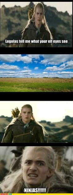 Only Legolas and his elf eyes can see ninjas!