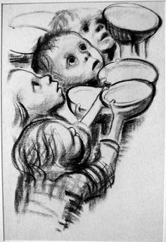 < Germany's children starve! >. 케테 콜비츠 作. 1924년. 제1차 세계대전을 통해 아들을 잃은 콜비츠는 이후 수많은 반전 평화운동 작품을 제작했다. 그녀는 특히 어머니, 어린아이들을 적극 활용했는데 이 작품 역시 굶주린 아이들을 통해 전쟁이 가져오는 폐해를 보여준다. 간절한 눈빛과 그릇을 구걸하듯이 공손히 떠받치고 있는 아이들의 손 모양에서 이 아이들이 얼마나 절실하게 먹을 것을 필요로 하는지 느낄 수 있다. 콜비츠는 그 절실함을 야기한 전쟁을 간접적으로 비판하고 있다. 지금 현재에도 세계 곳곳에서 내전과 분쟁이 끊이지 않고 있는 상황에서 그녀가 던지는 메시지는 여전히 강렬하게 와 닿는다. +) 작가 케테 콜비(1867~1945)는 소외되고 학대받는 프롤레타리아의 삶을 무채색 판화 작품 속에서 재현한 독일 표현주의 미술의 대표 화가이다. 그녀의 '현실참여예술' 양식은 1980년대 우리나라의 민중판화운동에 영향을 미치기도 했다.