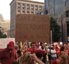 """CAN'T AFFORD POSTER BOARD.  I'M A TEACHER.""  ~ One of ""18 Great Signs at North Carolina's Moral Monday."""
