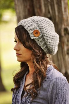 Love this crochet slouchy hat!