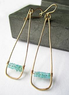 The Peyton: Peyton is the epitome of bohemian chic. Handcrafted teardrop made from 14k gold-filled or sterling silver wire featuring a row of unique square shaped stones in labradorite or aqua quartz.