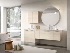 Wall-mounted vanity unit with mirror MINERVA 331 Minerva Collection by Edoné by Agorà Group   design Marco Bortolin
