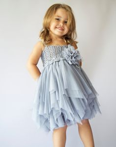 Baby Tulle Dress with   Stretch Crochet Top and playful tulle bottom