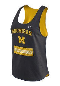 Nike Michigan Wolverines Womens Navy Blue Gear Up Mesh Tank Top