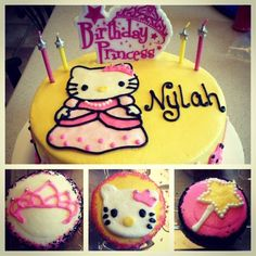 #princess #hellokitty #cake & #cupcakes all #icing #sprinkles #bling #princesshellokitty #tiara #magicwand