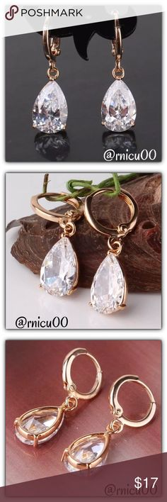 🆕Popular White Sapphire 18K Gold Drop Earrings! These are a Very Popular Style Earring & once you see them- you'll know why! They are Delicate, Elegant, yet simple- full of Sparkle & Gorgeous! Buy for yourself or will make a Perfect Gift!  ✨Will be shipped Securely in Jewelry Box, Ready for Gifting! ✨Please see last pic for full description👌  *NO TRADES *Prices are FIRM-Listed at Lowest Price Unless BUNDLED! *Sales are Final-Please Read Descriptions! Boutique Jewelry Earrings