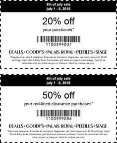 Pinned July 5th: 20% off regular 50% off clearance at #Bealls #Goodys Palais Royal Peebles & Stage Stores #coupon via The #Coupons App