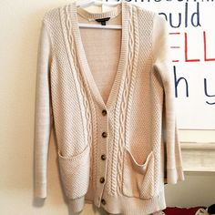 Beige Knitted Cardigan Purchased from American eagle. No trades. Urban Outfitters Sweaters Cardigans