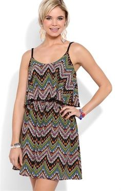 Deb Shops #Tribal Print A Line Dress with Ruffle Bodice $35.00  I would Love this for summer!!!!