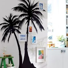 Palm Tree wall decal, picture frames give it a little more umph