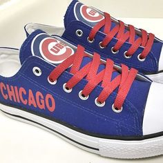 Stand out from the crowd with Chicago Cubs team spirit in these adorable Converse style sneakers that have handmade Chicago Cubs designs. Orioles Baseball, Chicago Cubs Baseball, Chicago Bears, Chicago Cubs Shoes, Converse Style, Converse Sneakers, Cubs Gear, Baseball Shoes, Baseball Gear