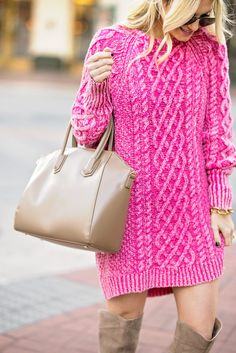 Pink Sweater Dress, OTK Boots