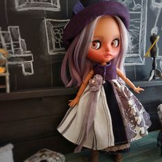 Blythe dress, Blythe clothes, Blythe hat, Purple vintage outfit for Neo Blythe by PalmaDolls on Etsy Cute Handbags, Nice Dresses, Vintage Outfits, Cool Outfits, Trending Outfits, Hat, Purple, Handmade, Etsy