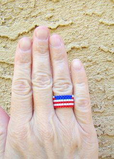 American flag bead ring in bright red white and blue - custom made by ElephantBeads, $14.00 #dteam #handmade #beaded #accessories #ring #flag