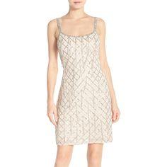Aidan Mattox Beaded Georgette Slipdress ($385) ❤ liked on Polyvore featuring dresses, champagne, aidan mattox dresses, vintage white dress, beaded dress, fringe dress and sleeveless dress