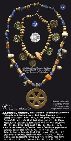 Late Iron Age Liv/lībiešu/Livonian beads with wheel pendant from Salaspils Laukskola in Latvia. On view at the Latvian National History Museum in Rīga until march 1, 2015. Brought to you by balticsmith.com.