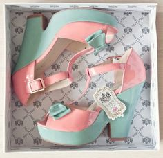 LYDC Peep Toe shoes in pink and aqua.