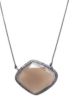 "Pave Diamond Freeform Sapphire Pendant Necklace - 1.50 ctw by Jewels By Lori K :: $509, Retail $2700 | HauteLook.com :: [1-3/8""L x 1.75""W. 20""L necklace] 18K gold plated & rhodium plated bezel set faceted freeform beige sapphire w/ champagne diamond trim pendant necklace. Natural stones may vary in size/shape/color. :: This is gorgeous. Similar in style to the Rivka Friedman  sapphire pendant necklace I LOVE."