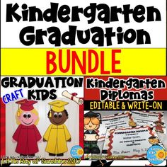 Celebrate the end of the year with 2 of my Graduation products together in a BUNDLE! That's right. You get my Graduation Kids Craft AND my Kindergarten Editable/Write-ON Diplomas all in one resource!