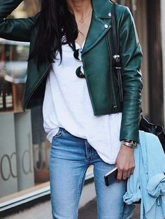 This simple day outfit is casually dressy with the casual green leather jacket. It adds a pop of colour complementing her outfits. Colours do not clash but instead the outfit flows simply because of the neutral tones used. Mode Outfits, Fall Outfits, Casual Outfits, Casual Wear, Casual Shirts, Green Outfits, Green Leather Jackets, Blue Leather Jacket Outfit, Cropped Leather Jacket