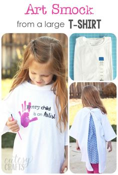 Art Party Smocks - Cutesy Crafts - Make these cute art smocks from a t-shirt. – Great for an art party! Kids Art Smock, Kunst Party, Kids Art Party, Artist Birthday, 7th Birthday, T Shirt Painting, Body Painting, Paint Shirts, Smocks