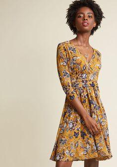 Surplice Knit A-Line Dress