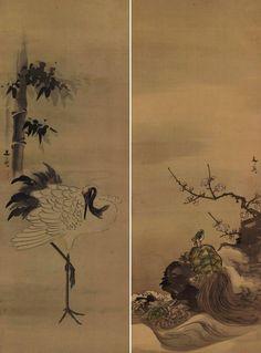 Crane and Turtle, a Good Fortune pair. hanging scroll, Kakejiku.