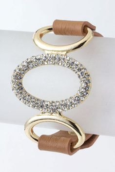 Bracelet.Trendy Brown Wrap with Fold-Over Snap Closure. Pretty Oval Crystal Bar Centerpiece