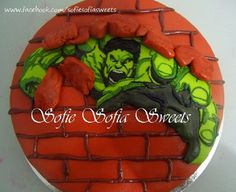 Hulk Birthday Cake Chocolate cake covered with fondant. All designs, including hulk are made and drawn using marshmallow fondant. Cake Cookies, Cupcake Cakes, Hulk Birthday Cakes, Marvel Cake, Marvel Avengers, Marshmallow Fondant, Superhero Cake, Character Cakes, Cake Cover