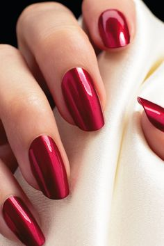 Simply red glossy nails.