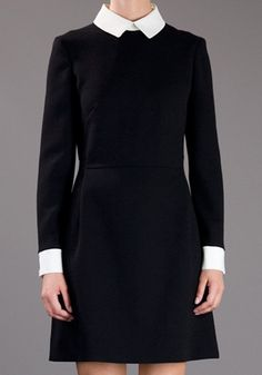 Black Patchwork Turndown Collar V-neck Wrap Wool Dress... I feel British, oh so British