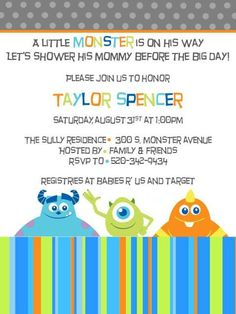 Get the latest ideas, info and tips for coed baby shower invitations; You should use solids, patters, solid prints or those manufactured from satin, velvet or satin to tie the weather together. Monsters Inc Nursery, Monsters Inc Baby Shower, Monster Baby Showers, Monster Nursery, Dr Seuss Baby Shower, Boy Baby Shower Themes, Baby Shower Parties, Baby Boy Shower, Cheap Baby Shower