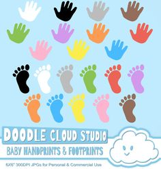 Colorful Baby FootPrints & Handprints by DoodleCloudStudio on Etsy