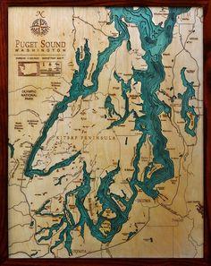 Woodchart Puget Sound Nautical Wood Chart X 31 : Puget Sound : Carved Lake Art Prado, Sound Map, Vashon Island, Whidbey Island, Western Washington, Washington State, Lake Art, Bainbridge Island, Nautical Chart
